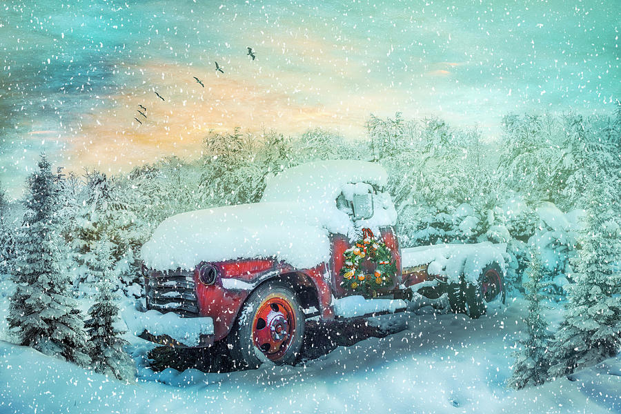 1949 Photograph - Softly Snowing Christmas Chevy Pickup Truck In The Snow by Debra and Dave Vanderlaan
