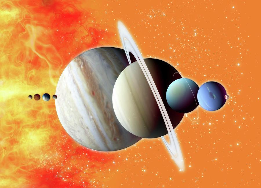 Solar System, Artwork Digital Art by Victor Habbick Visions