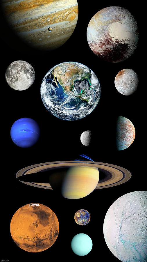 Solar System Planets and Moons Enhanced Vertical by Weston Westmoreland