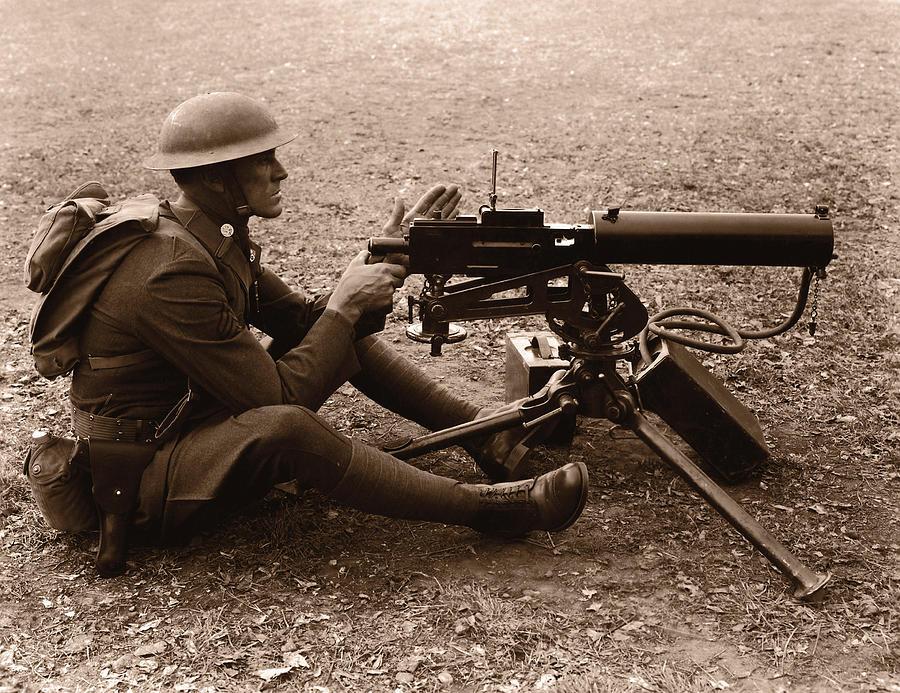 Soldier Aiming Machine Gun B&w Sepia Photograph by Fpg