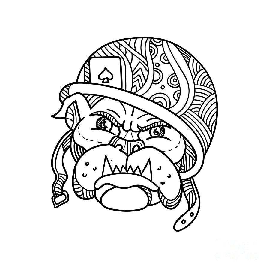 Line drawing digital art soldier bulldog ace of spade mono line by aloysius patrimonio