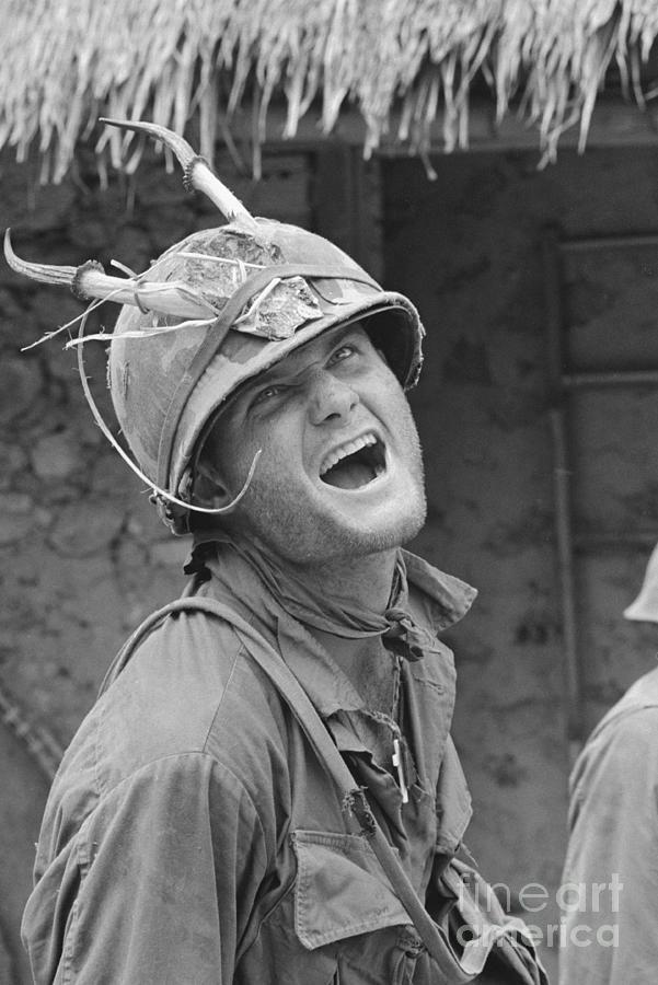 Soldier Wearing A Horned Helmet Photograph by Bettmann
