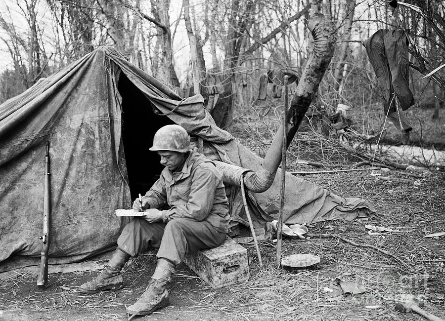 Soldier Writing Letter Home Photograph by Bettmann
