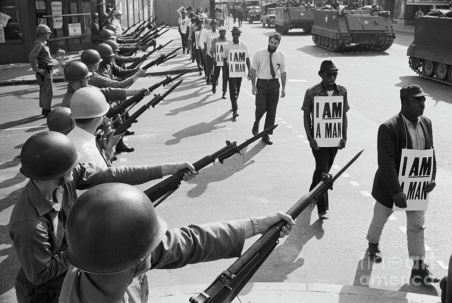 Soldiers At Civil Rights Protest Photograph by Bettmann