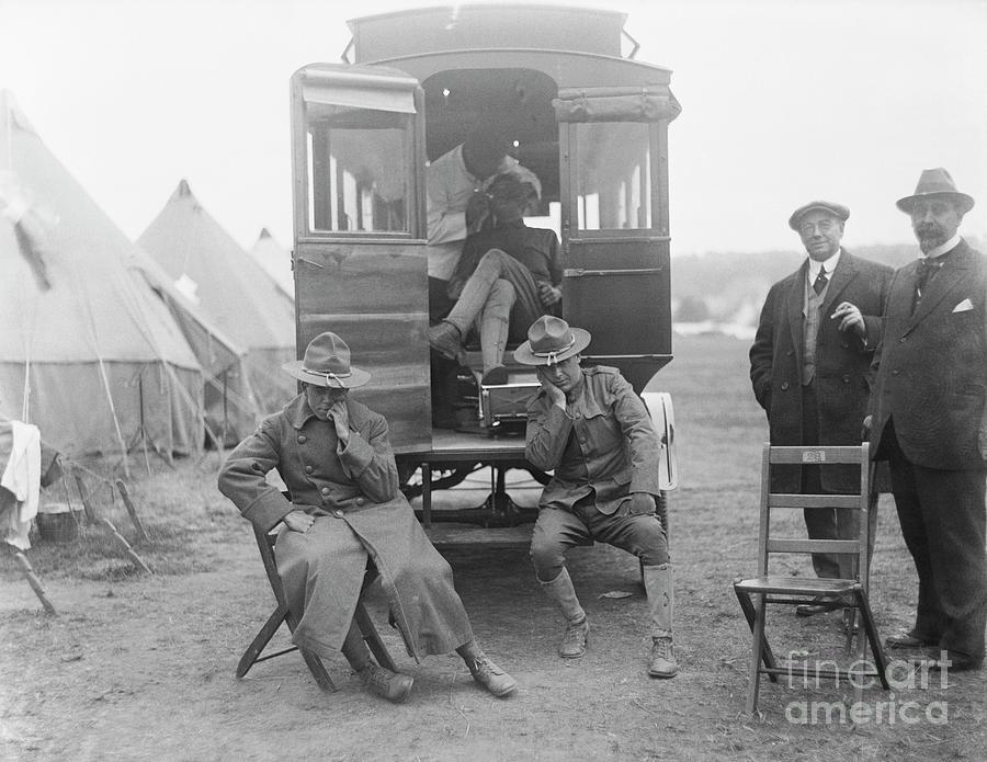 Soldiers Waiting At Dental Ambulance Photograph by Bettmann