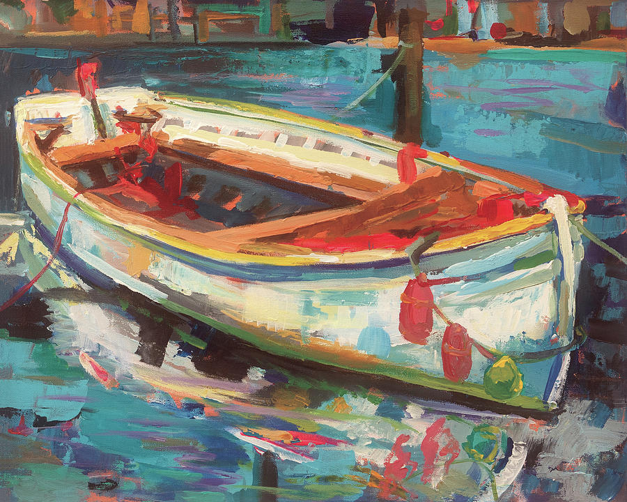 Blue Painting - Solo Boat by Jeanette Vertentes