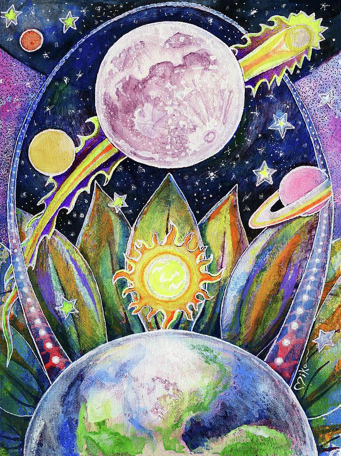Moon Painting - Solstice Moon by Miko Zen