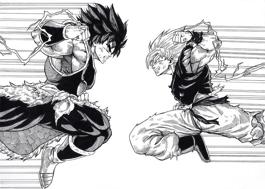 Dragon Ball Super Drawing - Son Goku Vs Broly by Darko Babovic