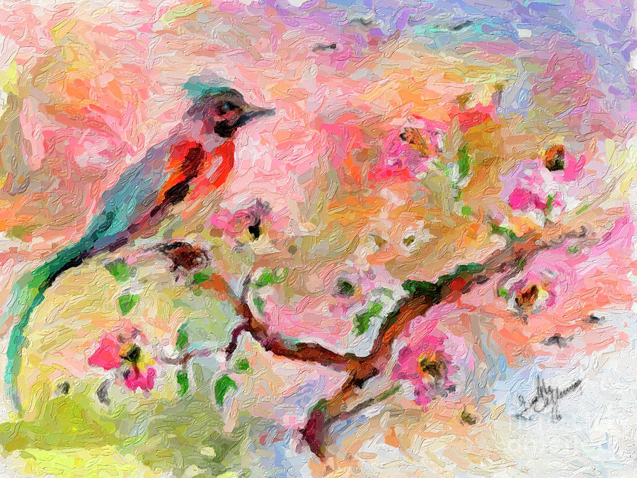 Song Bird and pink blossoms Digital Impressionism by Ginette Callaway