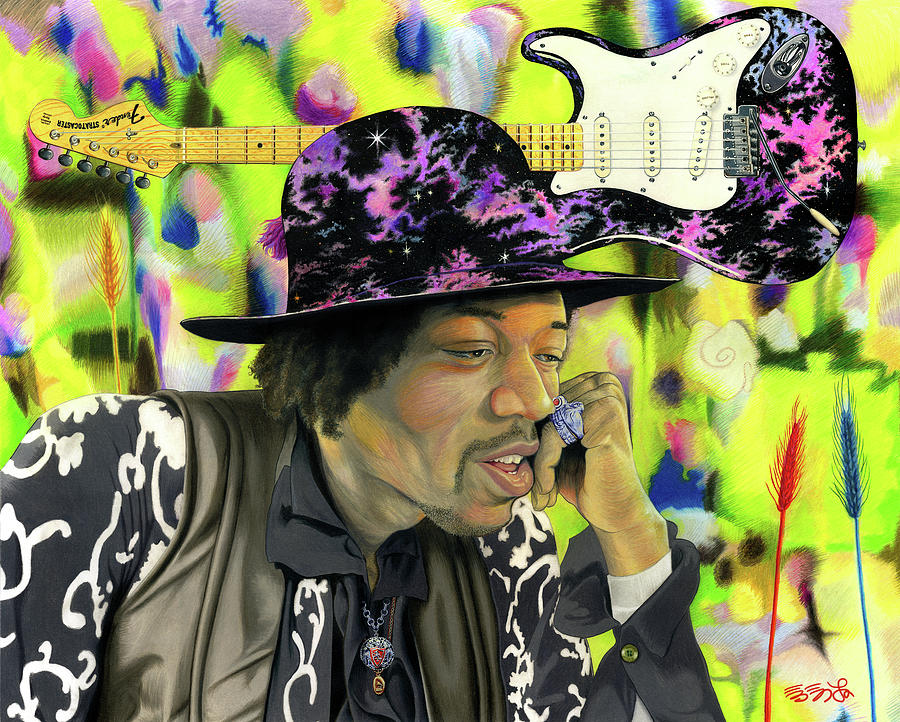 Guitar Painting - Sonic Exploration - A Jimi Hendrix Portrait by Ebenlo - Painter Of Song