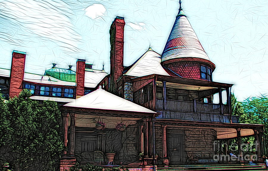 Sonnenberg Gardens Mansion Canandaigua New York Colored Sketch Effect by Rose Santuci-Sofranko