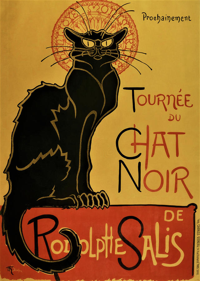 Swiss Painting - Soon, The Black Cat Tour By Rodolphe Salis - Digital Remastered Edition by Theophile Alexandre Steinlen