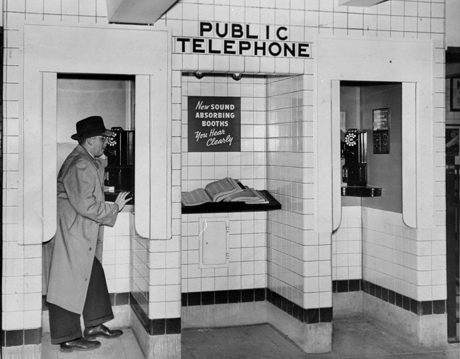 Sound Absorbing Phone Booths In The Photograph by New York Daily News Archive