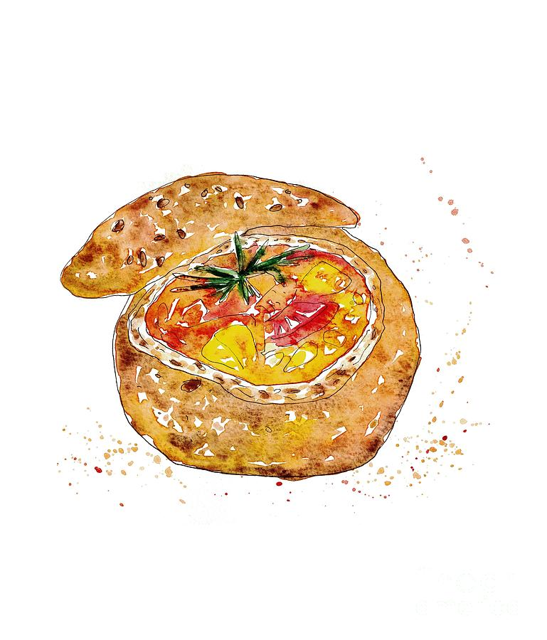 Soup In Bread Watercolor Painting By Maryna Salagub