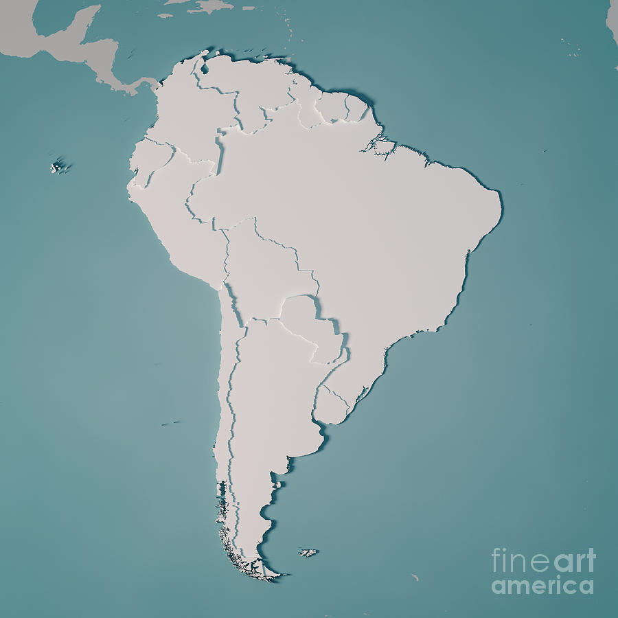 3d Map Of South America.South America Country Map 3d Render