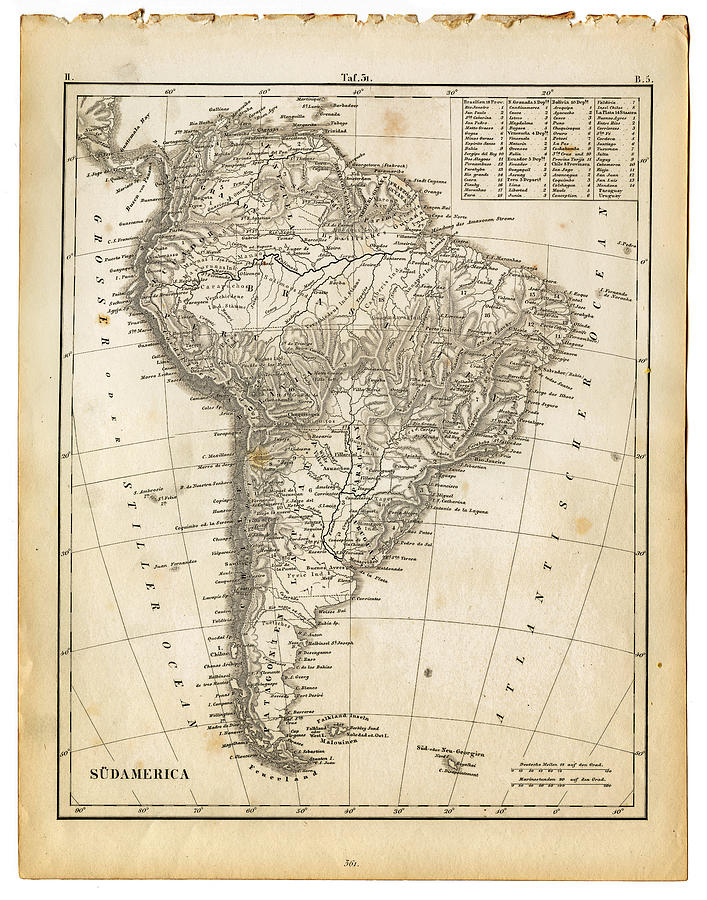 South America Map 1840 Photograph by Thepalmer