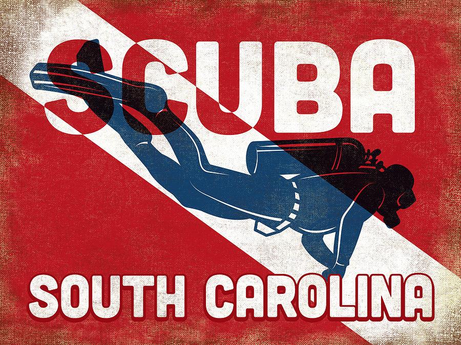 South Carolina Digital Art - South Carolina Scuba Diver - Blue Retro by Flo Karp