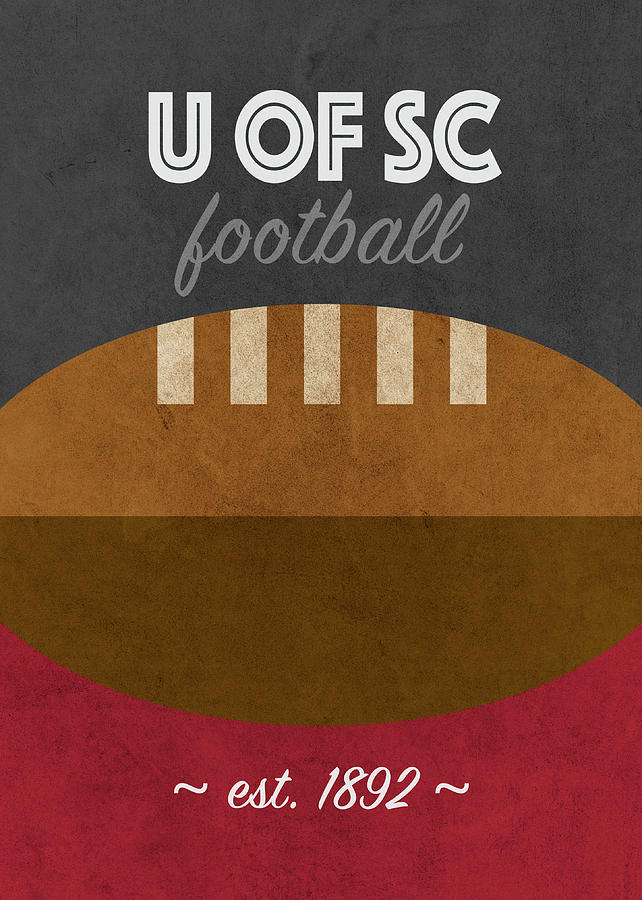 South Carolina Mixed Media - South Carolina Usc U Of Sc Football College Sports Retro Vintage Poster by Design Turnpike