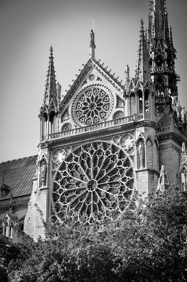 South facade and rose window of Notre-Dame de Paris before the fire of 2019 BW by RicardMN Photography