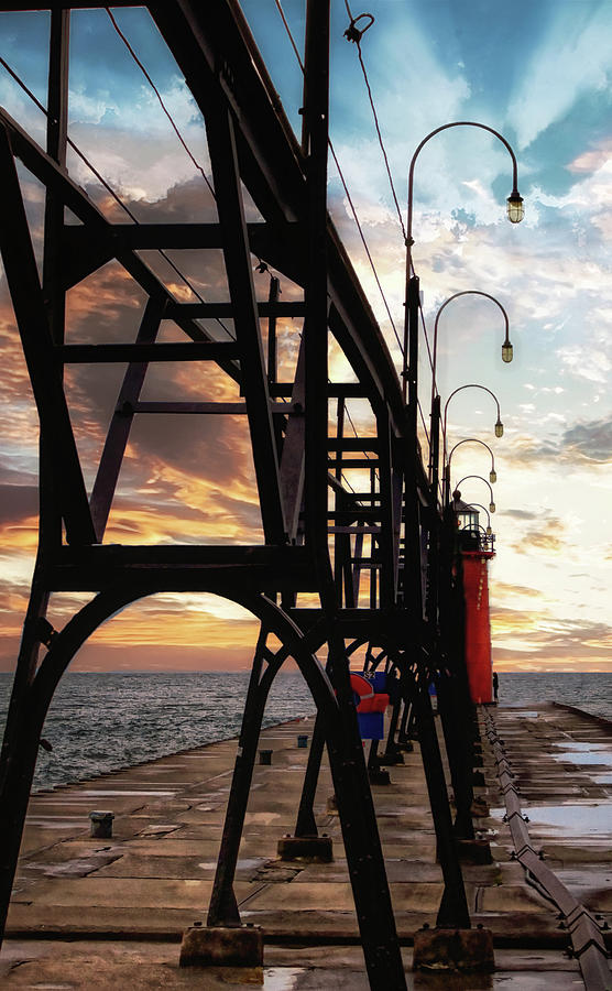 South Haven Pier Sunset by Lars Lentz