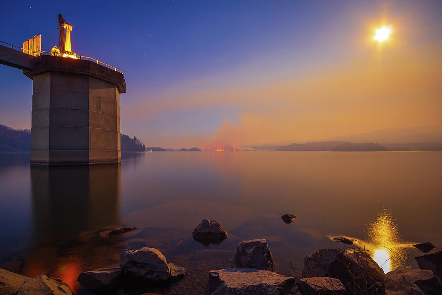 South Holston By Moon And Firelight Photograph