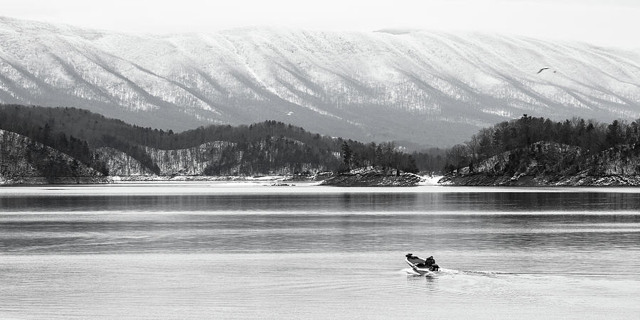 South Holston Winter In Black And White Photograph