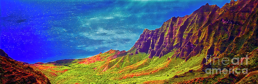 South Pacific, sunlit, Na Pali Coast State Wilderness Park, Kauai  by Tom Jelen