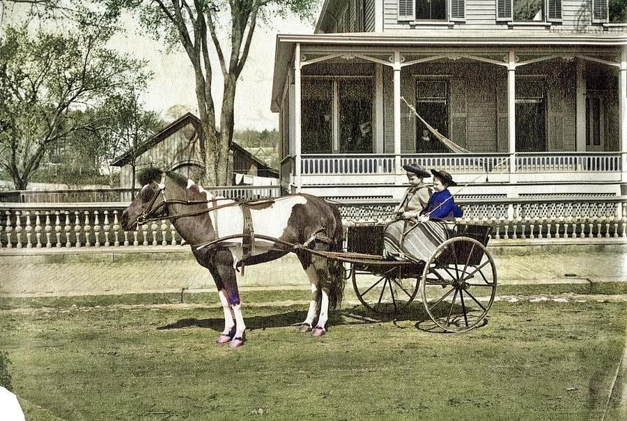 Southbridge Young Ladies In Horse Drawn Carriage Colorized By Ahmet Asar Painting