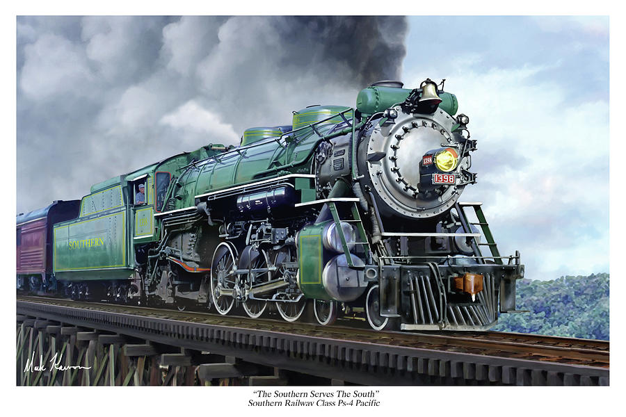 Railraod Painting - Southern Railway Class Ps-4 Pacific by Mark Karvon