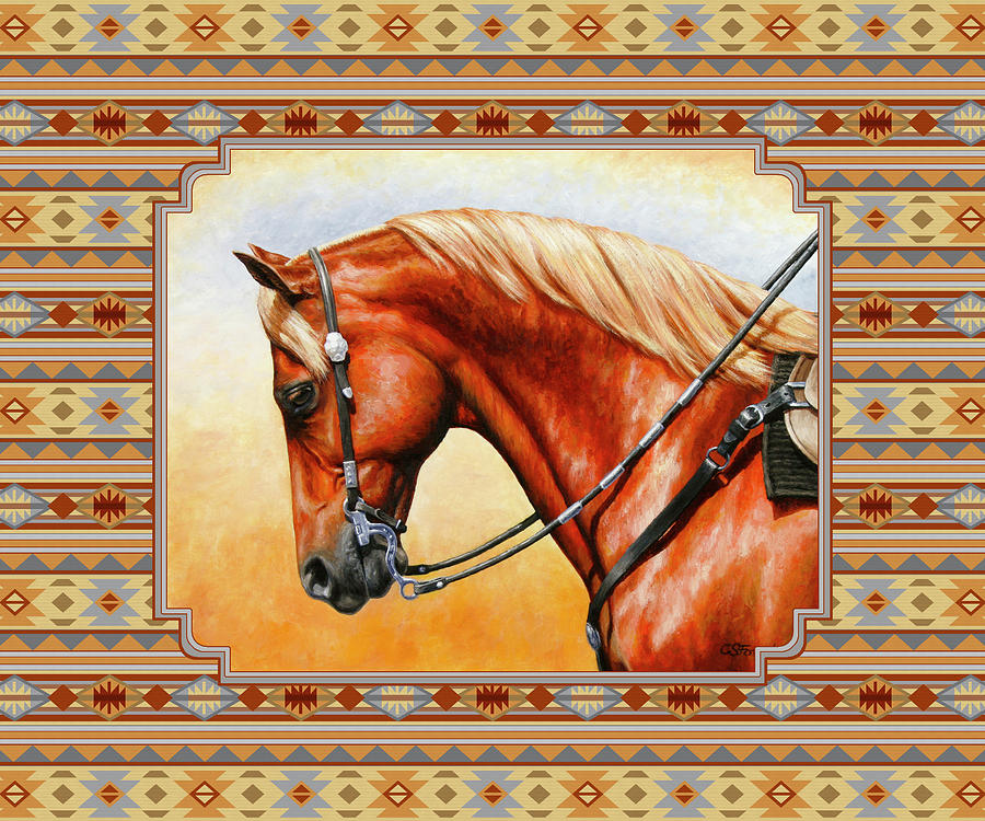 Horse Mixed Media - Southwestern Quarter Horse Pillow by Crista Forest