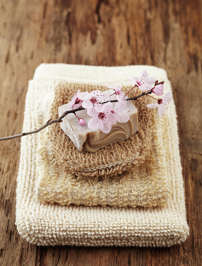 Spa Still Life Stacked Washcloths And A Photograph by Gspictures