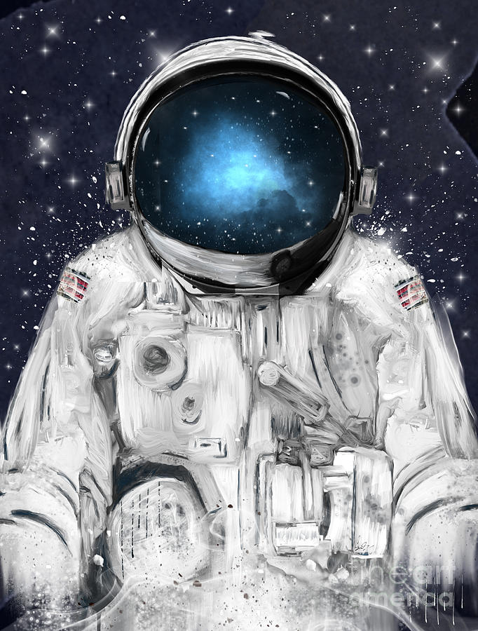 Astronauts Painting - Space Adventurer  by Bri Buckley