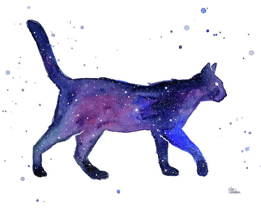 Space Painting - Space Cat by Olga Shvartsur