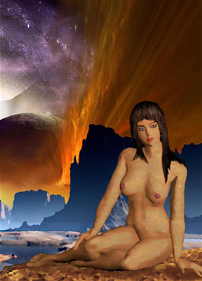 Space Fantasy I-elnia Original Nude Goddess Artwork Multimedia Painting. by G Linsenmayer