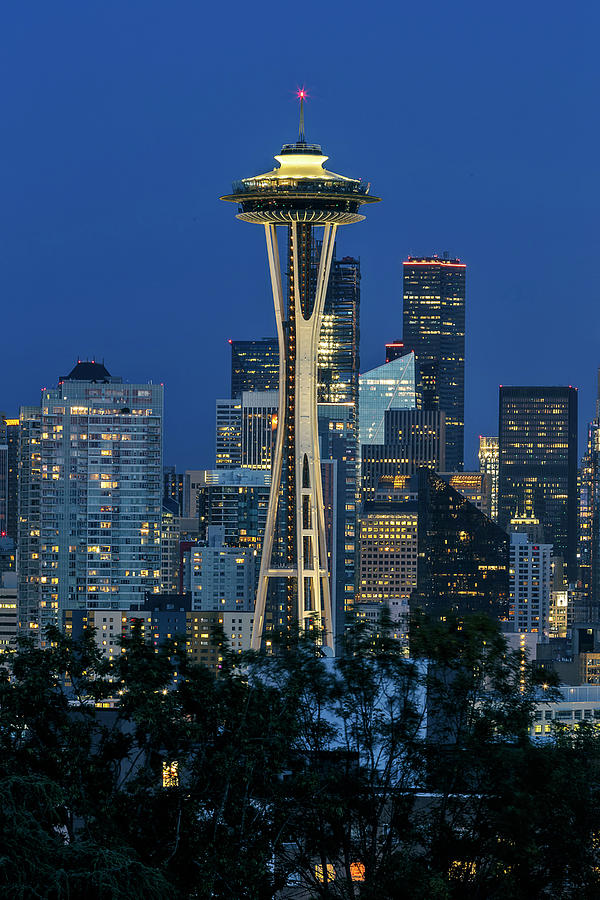 Space Needle Blue Hour by Wes and Dotty Weber