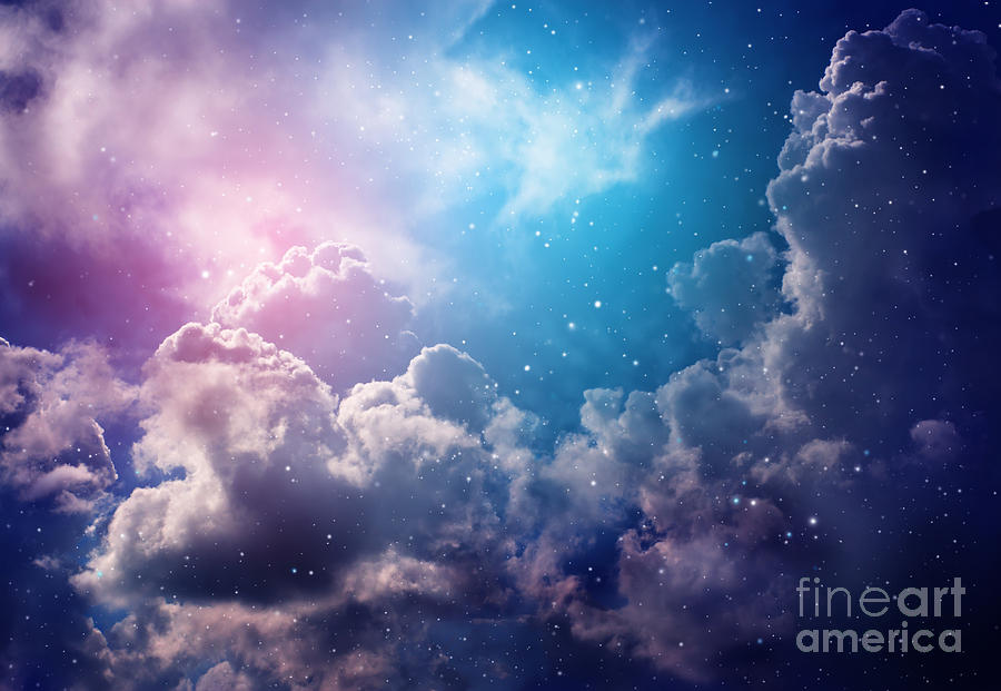 Cluster Photograph - Space Of Night Sky With Cloud And Stars by Nednapa