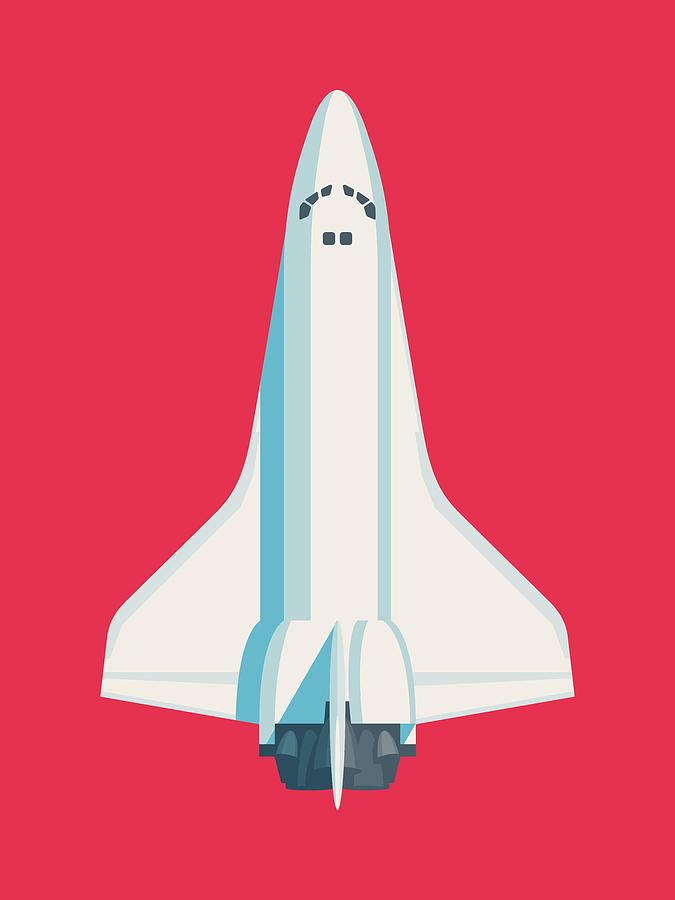 Poster Digital Art - Space Shuttle Spacecraft - Crimson by Ivan Krpan