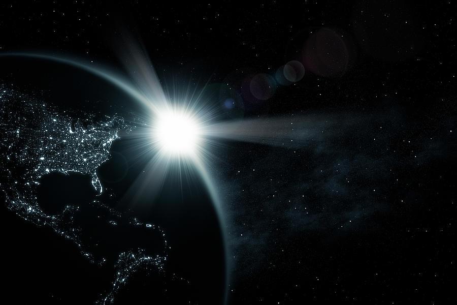 Space Sunrise America Xl Photograph by Beholdingeye