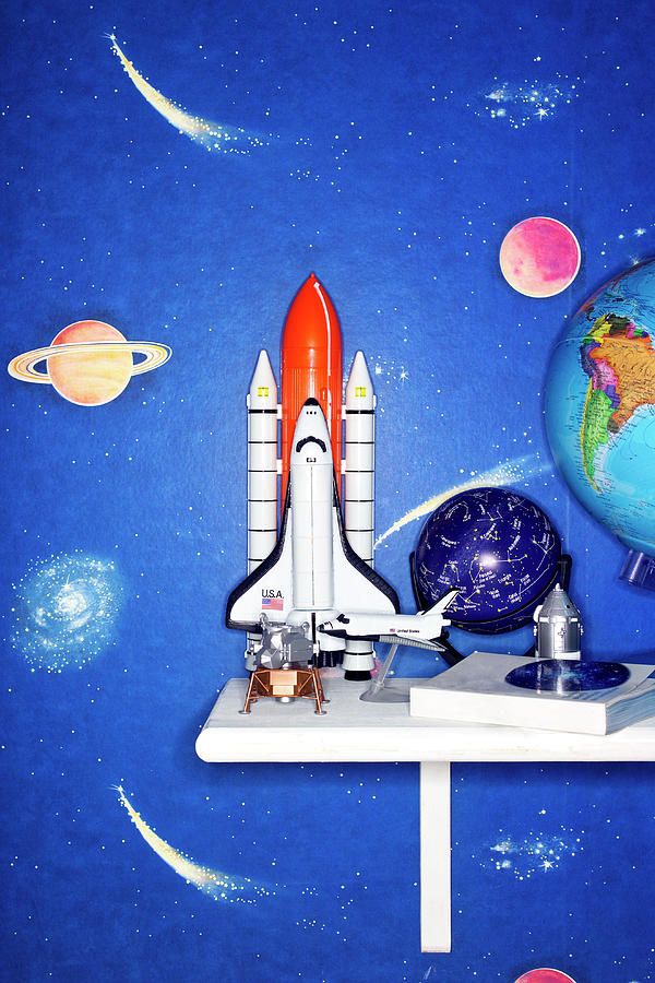 Globe Photograph - Space Travel Paraphernalia On Bedroom by Martin Poole