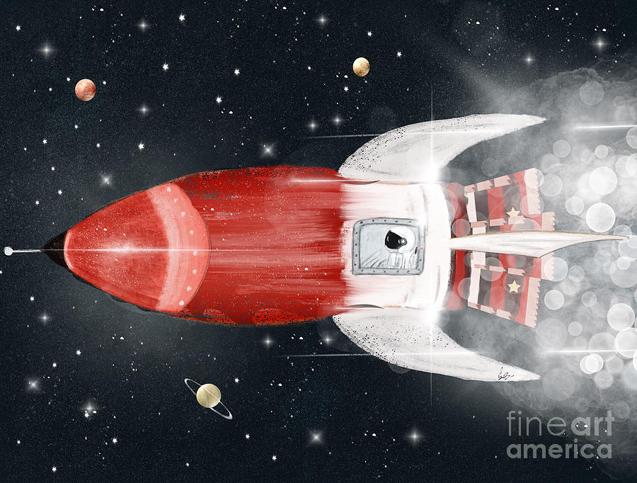Astronauts Painting - Space Voyager by Bri Buckley