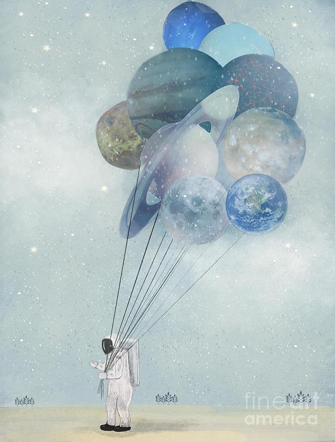 Astronauts Painting - Space Walk by Bri Buckley