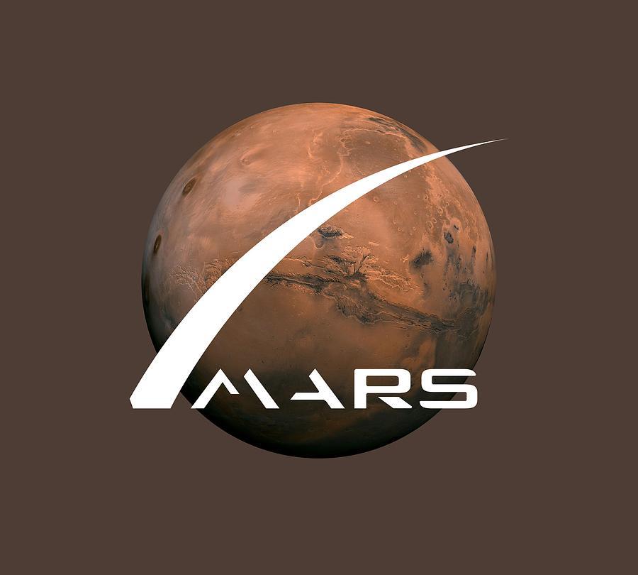 Space Digital Art - Space X Mars Hoodie by Unique Tees