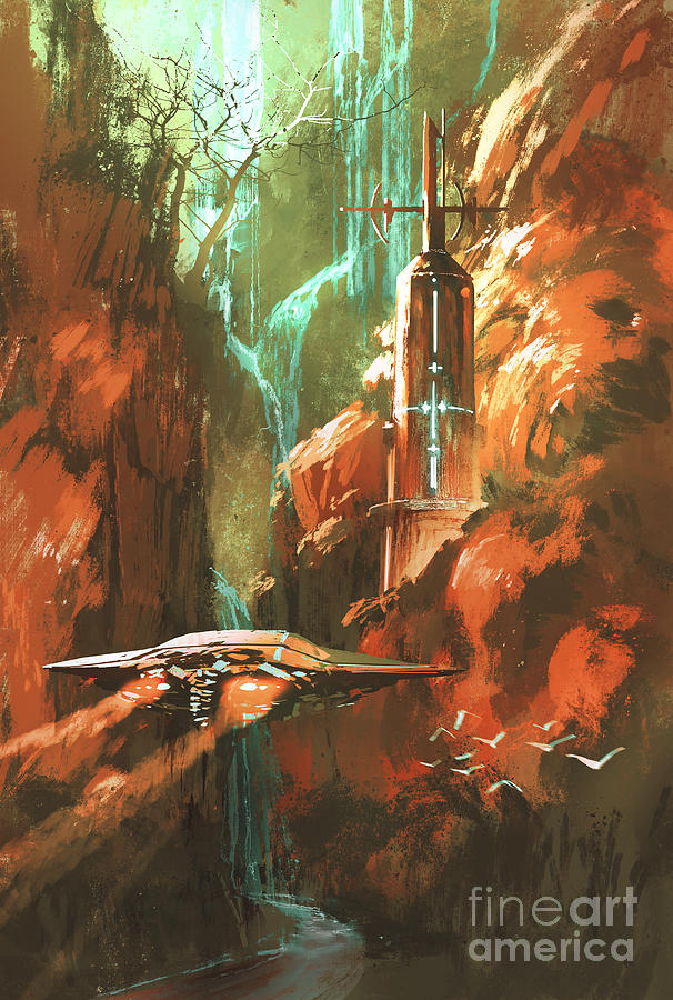 Game Digital Art - Spaceship On Background Of Lighthouse by Tithi Luadthong