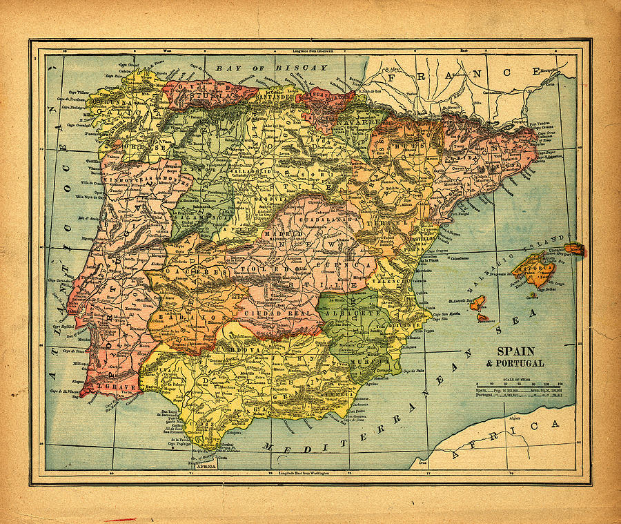 Spain & Portugal Vintage Map Photograph by Belterz