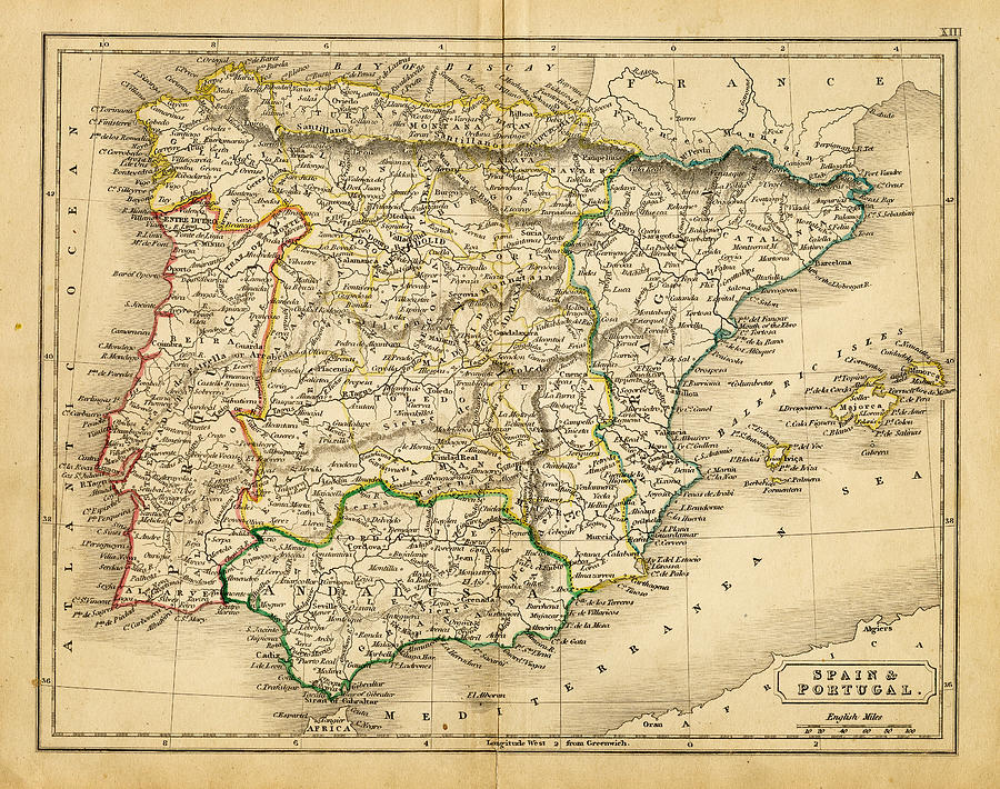 Map Of Portugal Spain.Spain And Portugal Map 1820 By Thepalmer
