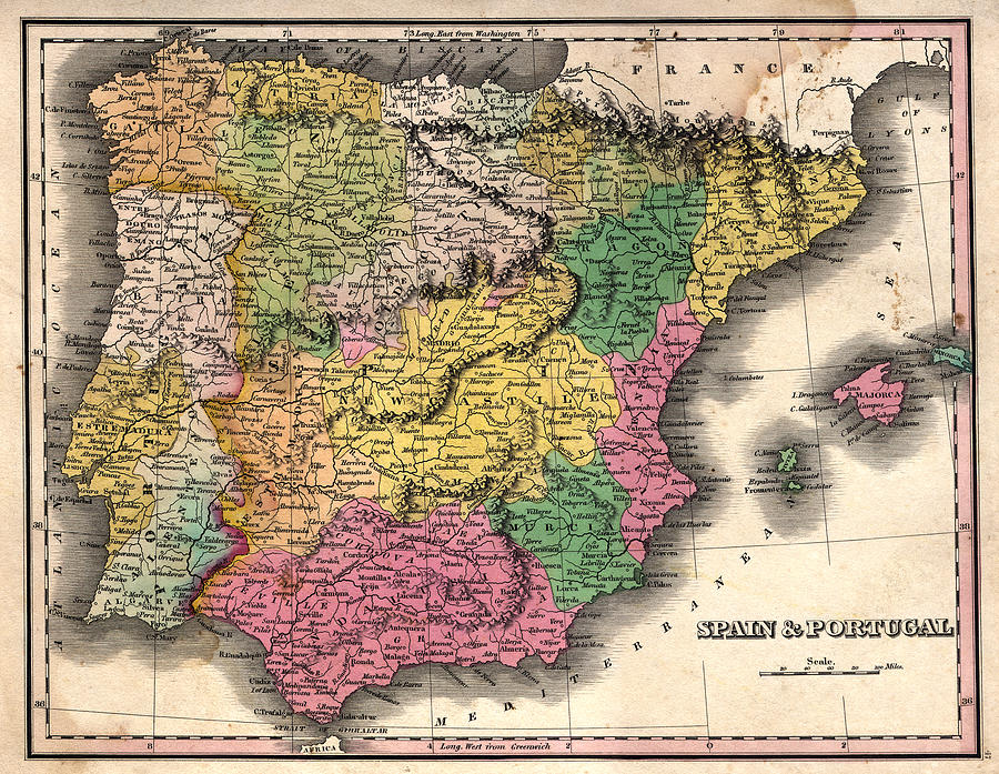 Spain And Portugal Vintage Map Photograph by Belterz