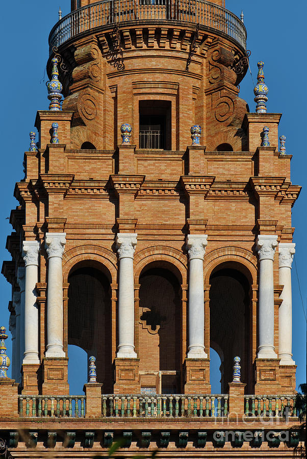 Spain Square Tower Detail 2 in Seville by Angelo DeVal