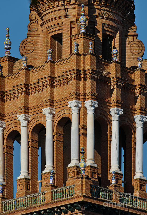 Spain Square Tower Detail in Seville by Angelo DeVal