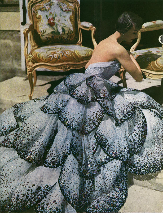 Spangled Christian Dior Evening Gown, 1949 Photograph by Horst P Horst