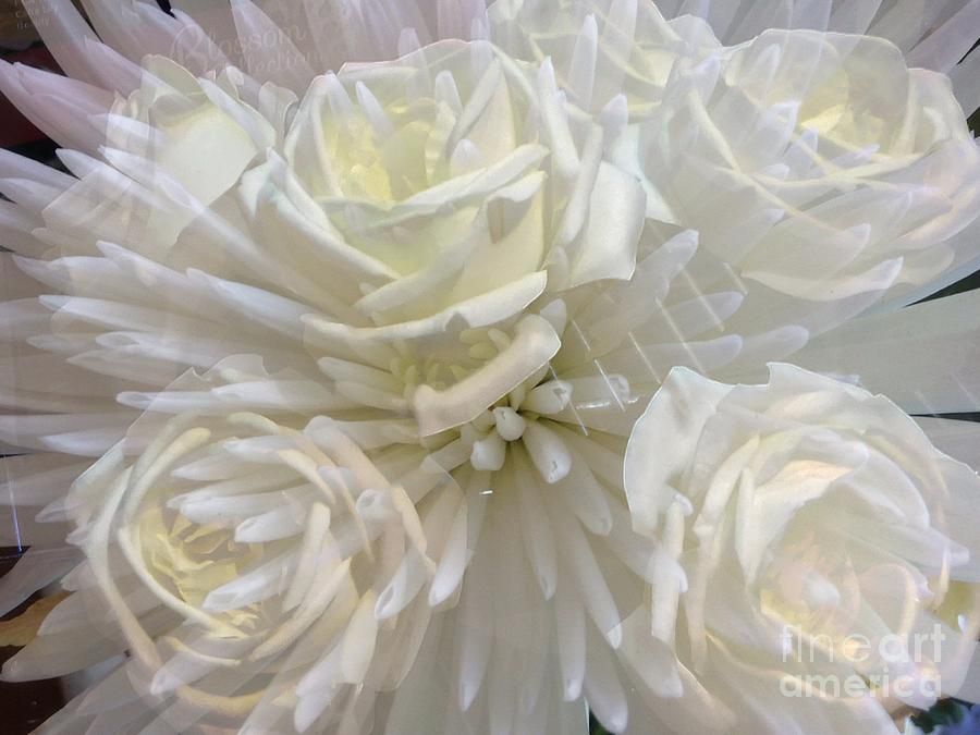 Sparkle White Florals by Joan-Violet Stretch